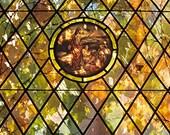 The Sun Shines Through Autumn Foliage and a Stained Glass Window  A Spiritual Fine Art Photo