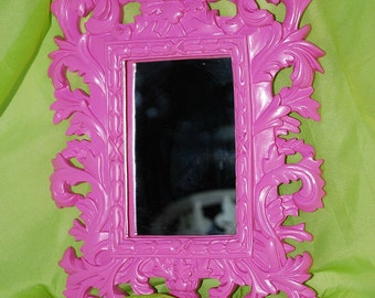 Ornate Mirror,  Hot PINK , Mirror, Ornate, Paris, Wall Mirror or Picture Frame 11 x 8