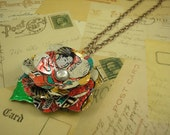 Geisha Flower Pendant Necklace. Recycled Soda Can Art.  Trendy 30 Inch Length.