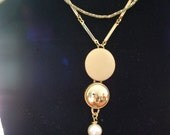 Vintage Revamped Gold and Pearl Necklace//Retro Modern