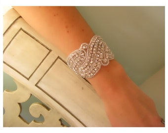 Kimberly Rhinestone bridal bracelet, bridal accessories, wedding cuff bracelet,