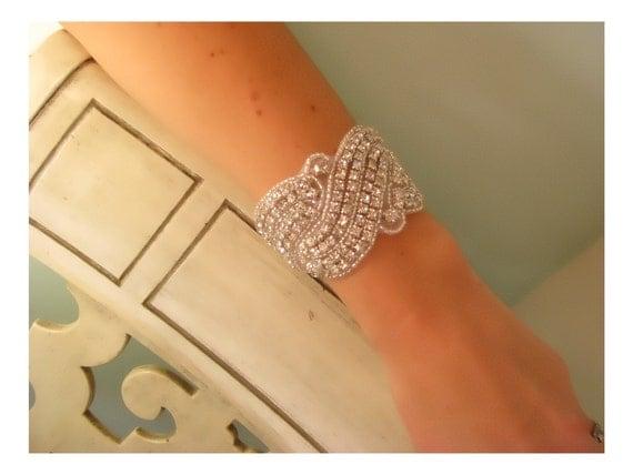 Kimberly Rhinestone bridal bracelet, bridal accessories, wedding cuff bracelet,