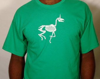 SALE Zombie Unicorn on 100% Cotton Kelly Green T - Shirt - Available in  L and  XL