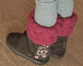 KNITTING PATTERN PDF file for girls cabled boot cuffs or boot toppers or legwarmers