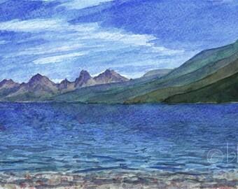 watercolor mountain landscape- Glacier Lake- panorama 4x12 print