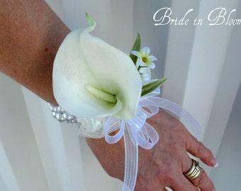 Cream calla lily wrist corsage champagne ivory or white pearls