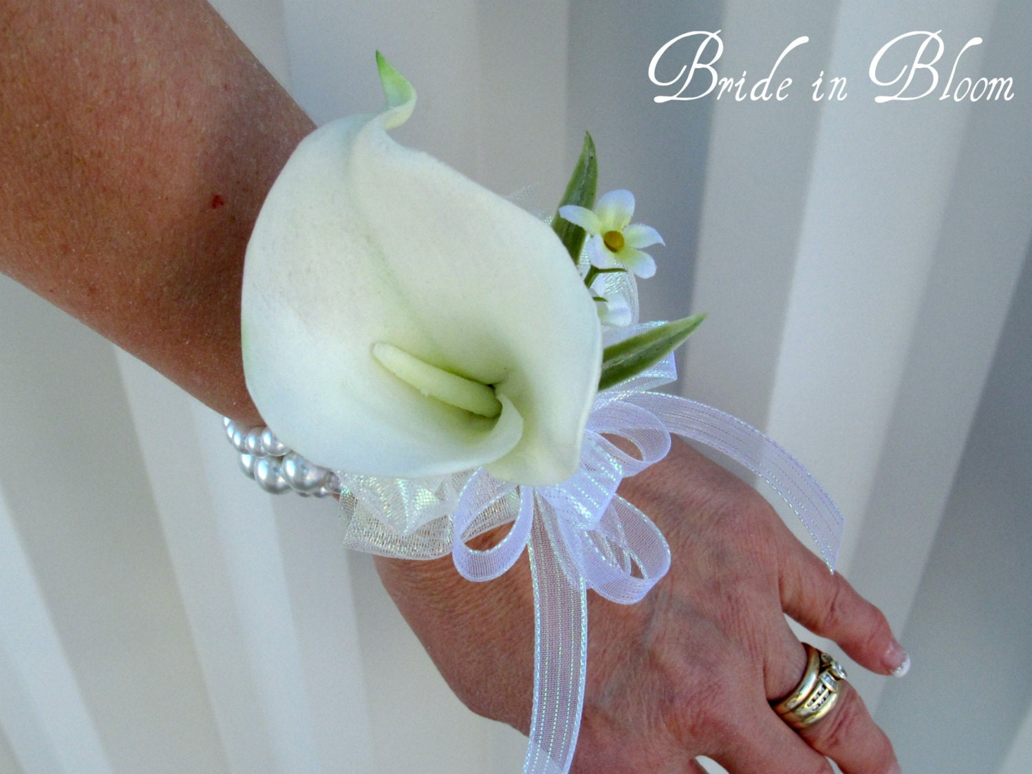Cream calla lily wrist corsage champagne ivory or white pearls