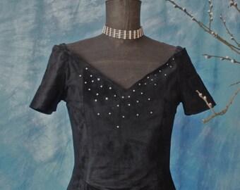 Dress Black Suede Rhinestones 80's Hugo Buscati Off Shoulder Princess Waist