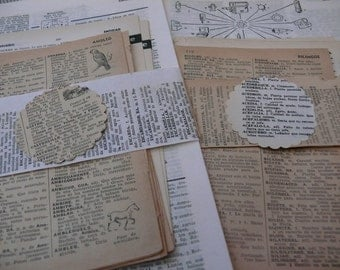 25 Vintage Spanish dictionary sheets - Pages from assorted antique dictionaries - Spain