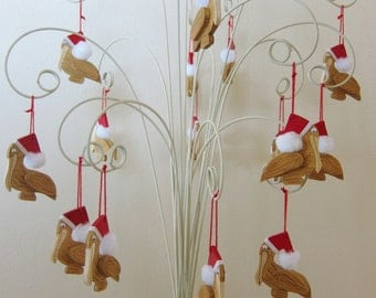 4 Wooden Pelican Ornaments with 2 Day Priority Shipping