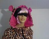 Handmade Fleece Leopard Onesie Hooded Adult Baby Grow One Piece All In One Jumpsuit Ears Pyjamas