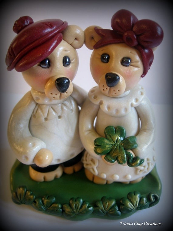 Wedding Cake Topper, Custom Polymer Clay Irish Bear Wedding or Anniversary Keepsake