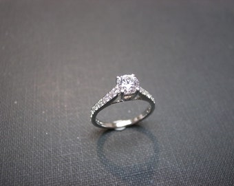 Diamond Wedding Engagement Ring in 14K White Gold, Diamond Ring, Diamond Band, Pave Ring, Pave Diamond Ring, Solitaire Engagement Ring