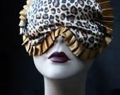 Cheetah Sleep mask Eye mask in Gold Satin and Black Burlesque - Marlene  by Love Me Sugar on Etsy