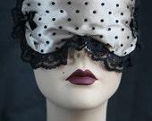 Boudoir Sleep mask Eyemask Sleeping Eye mask Retro Inspired Cream Satin black Spots  - Bailie -  Love Me Sugar