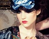 Blue Satin Boudoir Sleep mask  Bernice