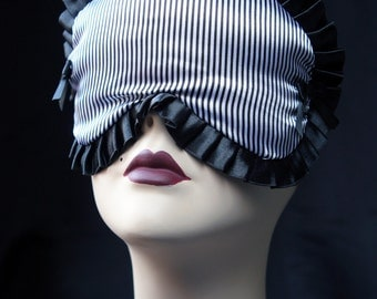 Black Sailor Striped Satin Sleep mask eyemask travel eyemask boudoir eyemask - Marcellette - by Love Me Sugar