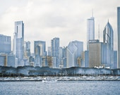 Photo of Chicago Cityscape with Artsy Blue Wash - Fine Art Photo Entitled Chicago Blues - 12 X 18