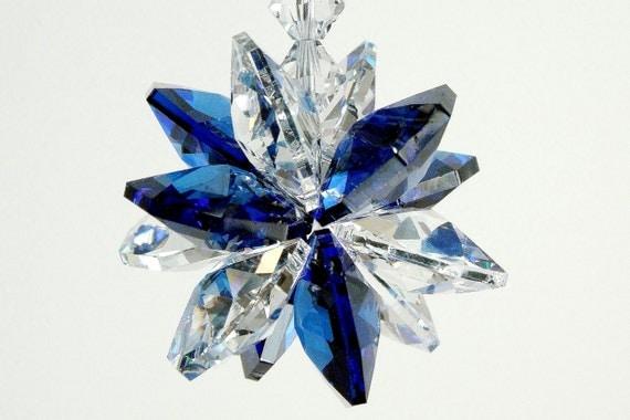 "Suncatcher mw Swarovski® Crystal Dark Sapphire Blue ""Splash of Color"" Octagon Starburst Sunburst Star Car Charm Ornament, Pearl Place N More"