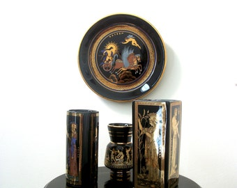 Vintage Handmade Vase 24K Gold Trimmed Stakias P Earthenware