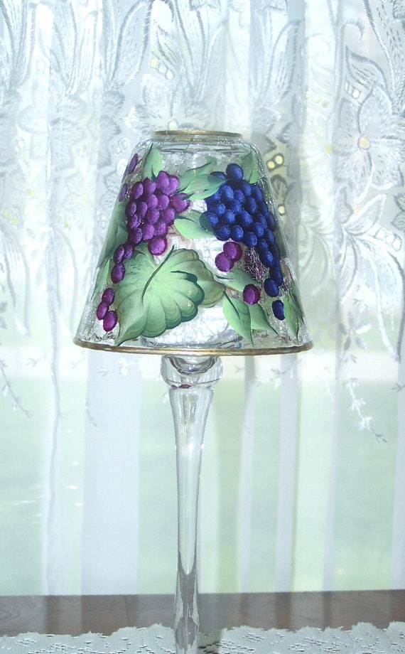 Candle Holder with Hand Painted Grapes