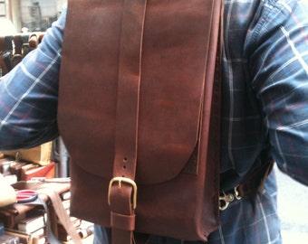 Laptop Backpack, Leather Satchel, Satchel Slim Backpack, Custom Laptop Messenger, Brown Leather Bag Handmade in NY