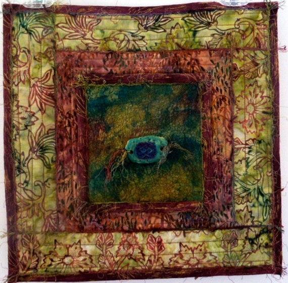 Mixed Media Fiber Art - Nuno Felting Embellished Batik Quilt