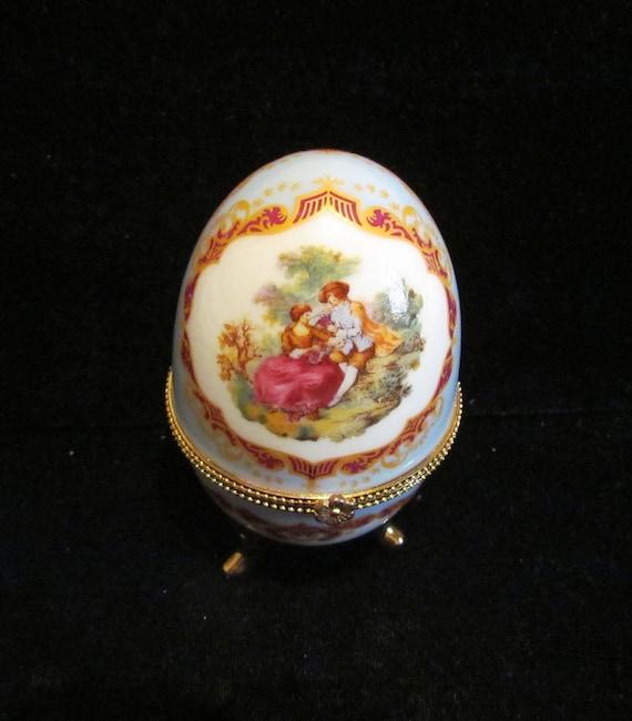 Vintage Trinket Box Porcelain Egg Victorian Courting Scene Egg Collectible Egg Box