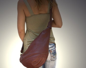 Leather  handmade cross body sling bag-Korina in Castagno. MADE TO ORDER