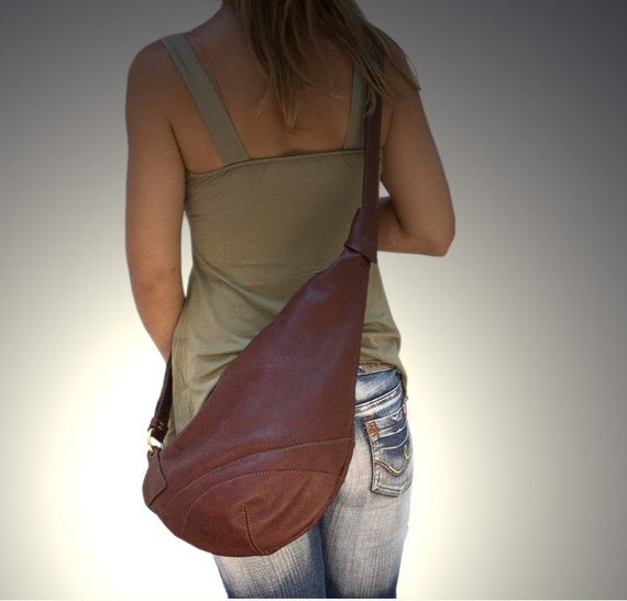 Leather  handmade cross body sling bag-Korina in Castagno. MADE TO ORDER