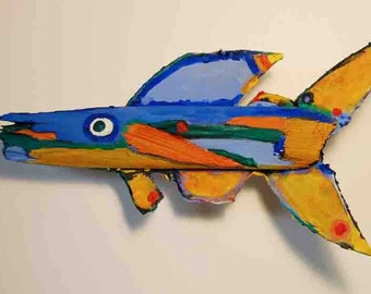 Handmade COLORFUL FUNKY Fish Art - Unique Recycled Painted Wood Art Ready to Hang Kitchen, Bath, Childrens Room Wall Decor