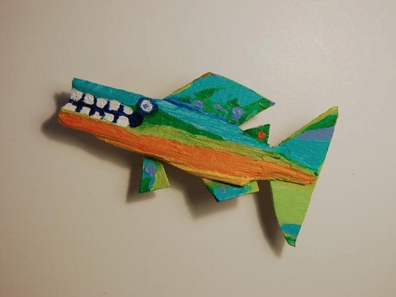 3d Funky Fish Art Recycled Painted Wood Small Hanging Colorful Whimsical Wall Decor