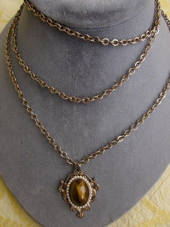 HOBÉ Tigereye Pendant Necklace w/ Long Double Chain