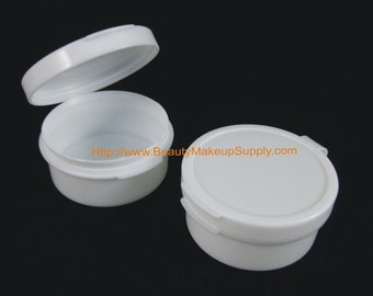 100 Cosmetic Jars Plastic Hinged Beauty Container w/ Attached Lid (White) - 10 ml 5095-100 | FREE US Shipping
