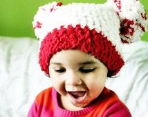 SUMMER SALE 12 to 24m Baby Pom Pom Hat, Toddler Pom Pom Beanie Pom Pom Toddler Hat Valentine Baby Hat, Cream Red Valentine Hat Photo Prop