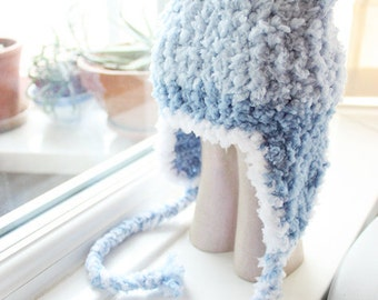 SALE 0 to 3m Boy Earflap Hat Blue Bear Hat Newborn Hat Boy Bear Prop Crochet Earflap Baby Hat Blue Boy Hat Baby Shower Gift Photo Prop Gift