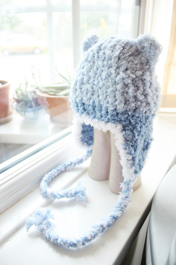 SALE 12 to 24m Toddler Earflap Bear Beanie Baby Hat - Crochet Bear Hat Lagoon Blue Light Blue White EarFlap Hat Bear Photo Prop Halloween