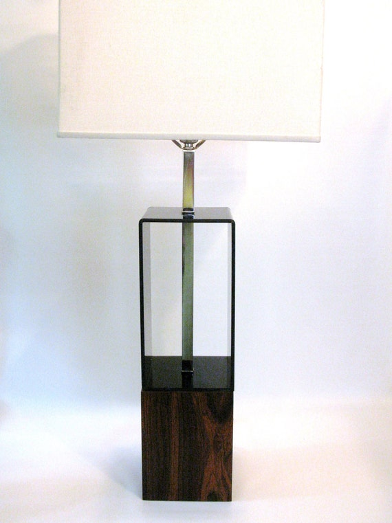 Mid Century Modern Lucite and Wood Lamp