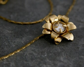 Women's Gift, Gold Necklace,Flower Gold Necklace, Crystal Pendant,  wedding Necklace,Wedding Bridal Jewelry, Bridal  Necklace
