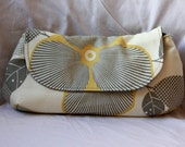 Amy Butler Clutch - Wristlet in Gray and Yellow Optic Blossom
