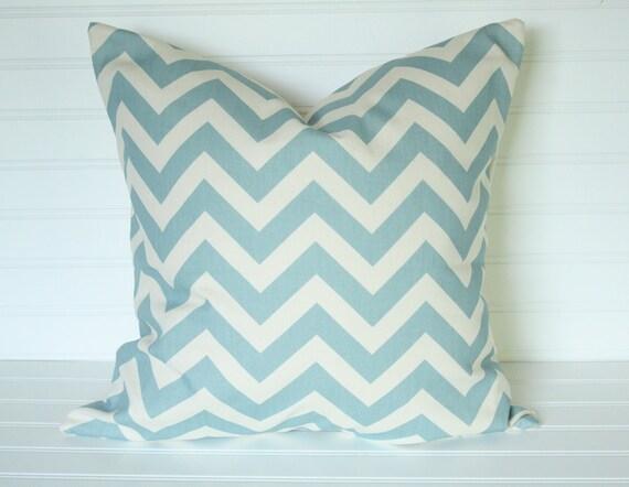 2 14x14 Blue/Ivory Chevron  Pillow Covers