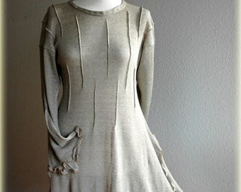 Grey LINEN Asymmetric Knitted Long Sleeved Tunic Eco Friendly Natural Clothing M-L Size