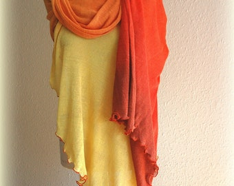 Orange Scarf LINEN Wrap Poncho Stole With Hand - Dyed Linen Knitted Eco Friendly Clothing Natural