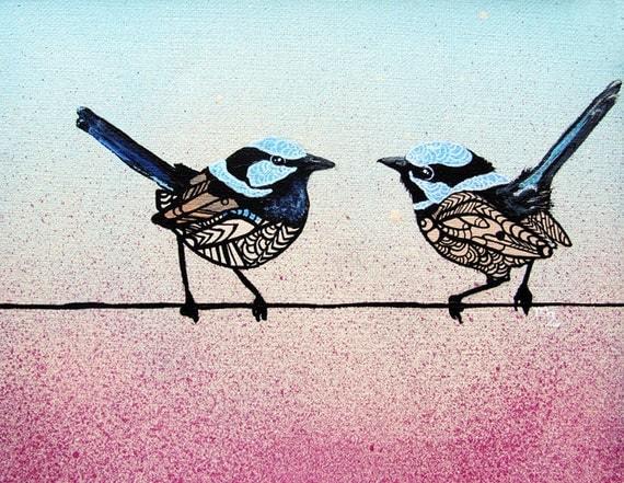 Fairywren Art Print - Superb Fairywren - Zentangle - Bird Art
