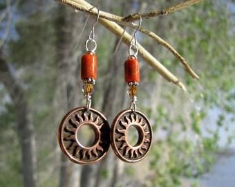 summer outdoors earrings. apple fossil coral silver earrings. COPPER SUN earrings. orange southwest earrings. Zodiac sign Scorpio earrings.