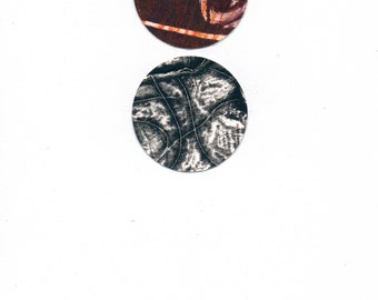 """Dots 6, small 5"""" x 7"""" original collage on paper"""