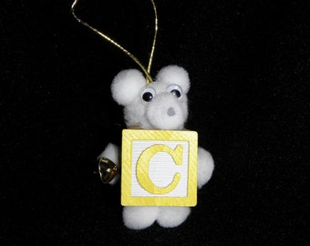 Letter C Teddy Bear Block Ornament For Present Tags Hanging Wooden Block