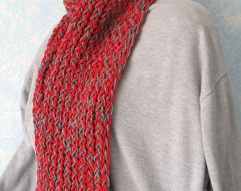 Winter scarf, gray, red item GO1