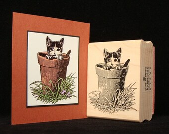 "cat rubber stamp ""potted cat"""
