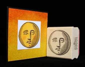 sun or moon rubber stamp